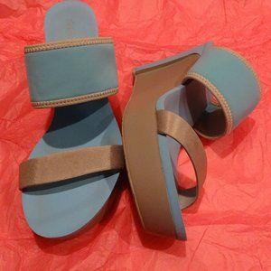 Calvin Klein aqua and silver tall sandals 7.5